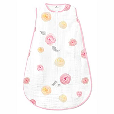Amazing Baby Muslin Sleeping Sack with 2-Way Zipper, Watercolor Roses, Pink, Large