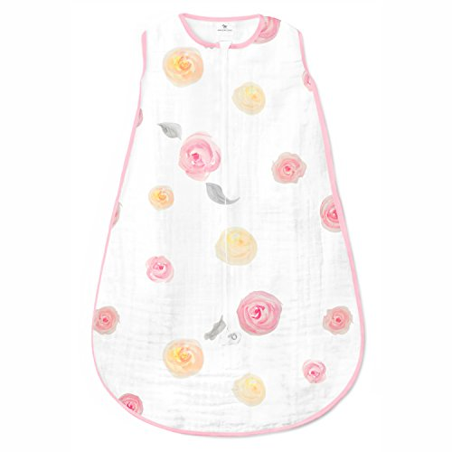 Amazing Baby Muslin Sleeping Sack, Watercolor Roses, Pink, Medium, Wearable Blanket with 2-way Zipper