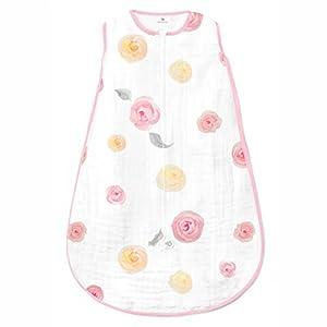 crib bedding and baby bedding amazing baby muslin sleeping sack, watercolor roses, pink, medium, wearable blanket with 2-way zipper