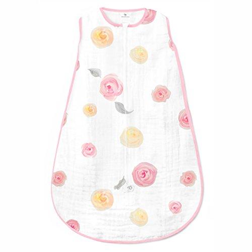 Geweldige baby mousseline slaapzak met 2-weg rits Aquarel Rozen Medium 6-12 Months roze
