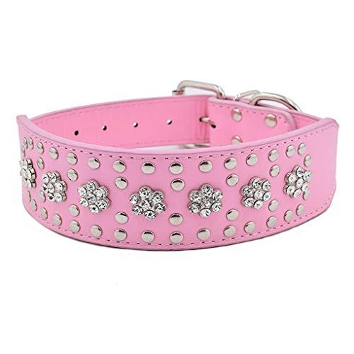 Collar para Perro con Diamantes de imitación, 5 cm de Ancho, 38 cm, Collar para Perros Grandes de Lujo con Pendientes de Flor de Cristal