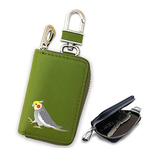 Fave フェイブ オカメインコ ノーマル スマートキーケース グリーン キーホルダー キーケース インテリジェントキー チャーム レザー インコ オウム 鳥 ペット f300153-1601