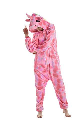 Yuson Mädchen Winter Flanell Einhorn Onesie Pyjamas Erwachsene Unisex Einteiler Cartoon Tier Kostüm Neuheit Weihnachten Cosplay Pyjamas (Rosa Einhorn) - 2