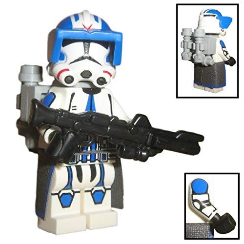 Custom Brick Design 501st Legion Jet Clone Trooper Figur V.1 - modifizierte Minifigur des bekannten Klemmbausteinherstellers und somit voll kompatibel zu Lego