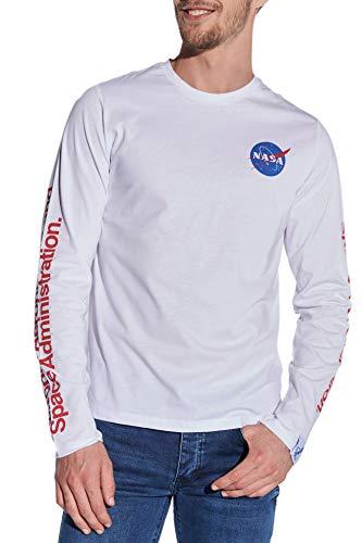 Course NASA shirt met lange mouwen voor heren, ronde hals, NASA-print