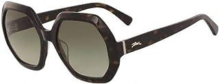 لونج شامب نظارة شمسية سداسي الاضلاع للنساء - بني , LO623S-214-55