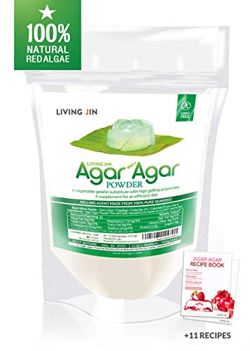 LIVING JIN Agar Agar Powder 12oz (or 4oz | 28oz) : Vegetable Gelatin Powder Dietary Fiber [100% Natural Seaweed + Non GMO + VEGAN + VEGETARIAN + KOSHER + HALAL]