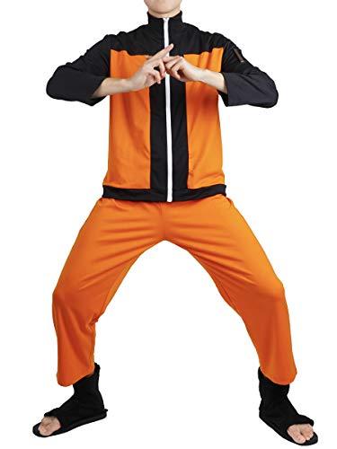 CoolChange Disfraz de Uzumaki Cosplay para los Fans de Naruto | Pantalones y Chaqueta Ninja | Talla: XL