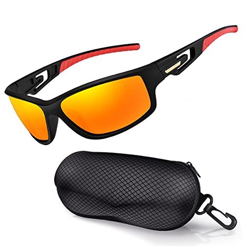 Occhiali da Sole Sportivi Polarizzati per Uomo Donna Occhiali da Ciclismo da Guida infrangibili con Protezione UV400 per Ciclismo Correre Pesca Golf Vela,Ultraleggera TR 90 (Arancione/specchiato)