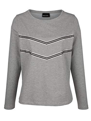 Laura Kent Damen Lässiges Sweatshirt Langarm in Grau mit kontrastfarbenem Ripsband im Vorderteil