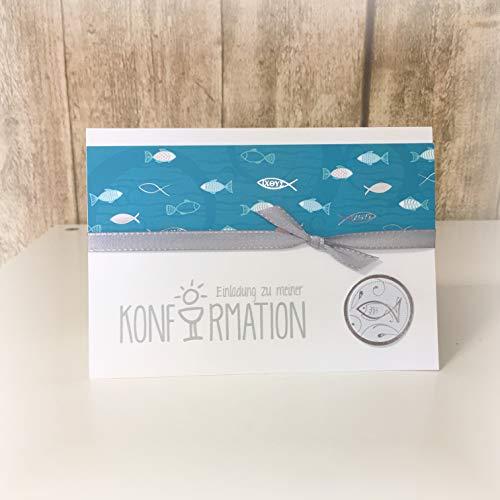 Einladung Einladungskarte Kommunion Konfirmation Fisch Fische personalisierbar türkis silber silberglänzend grau