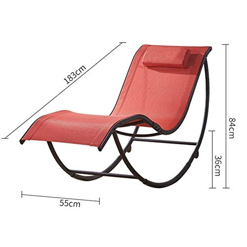 Lounge Chair Mecedora Estructura de la Silla Plegable del hogar sillones reclinables Sillones de Metal for Cualquier estación Retro tumbonas Porches Sala 2 Tamaño (Color : Orange, Size : 183x55x84cm)