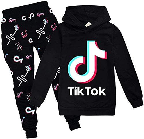 Tik Tok Hoodie Unisex Sweatshirt Bedruckter Pullover Mädchen Jungen Kleidung, Set Neuheit mit Kapuzenpullover und Hose Set?Tik Tok? (Schwarz,140)