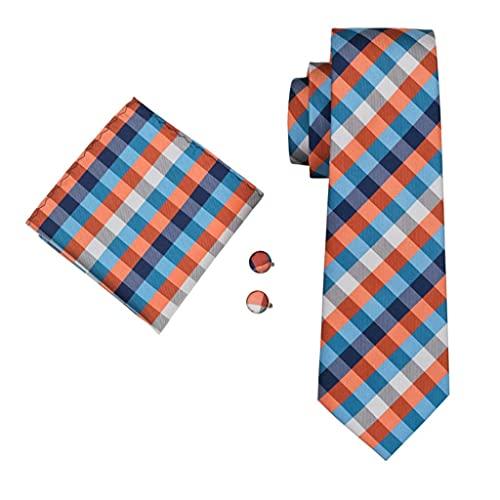 ZAIZAI Juego de gemelos para hombre, 100% seda, a cuadros, para bodas, fiestas, negocios (color: A, tamaño: talla única)