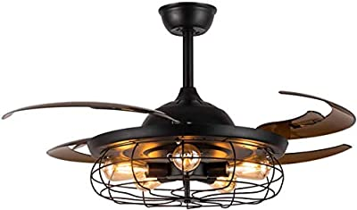 SILJOY Reversible Industrial Ceiling Fan with Lights and Remote Control Retractable Blades Chandelier Lighting Fixture for Bedroom Living Room 48 Inch