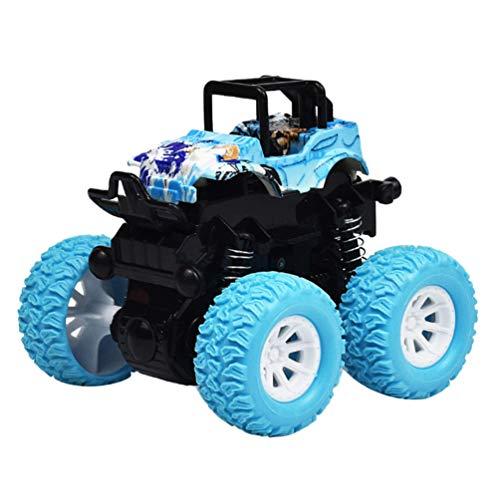 Toyvian Tirar hacia atrás Coches Juguetes Monstruo camión inercia Juguete fricción Coches propulsados ??por Cuatro Ruedas Empujar camión y Coche Juguete para niños niños (Azul)