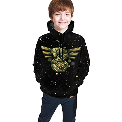 3D-Druck lässig Unisex Jugend Athletic Pullover Kinder Kapuzen Trainingsanzug Sweatshirt Boy Girl Boy Girl Le-Gend of Ze-Lda O-Carina of Time L(14-16)