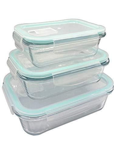 Frischhaltedose Glas Set, Frischhaltedosen aus Glas mit Deckel- I Vorratsdosen Glas Meal Prep Boxen Glas Aufbewahrungsbox 6 Teile (3 Behälter mit 3 verschließbaren Deckeln) (1040ml+680ml+410ml)
