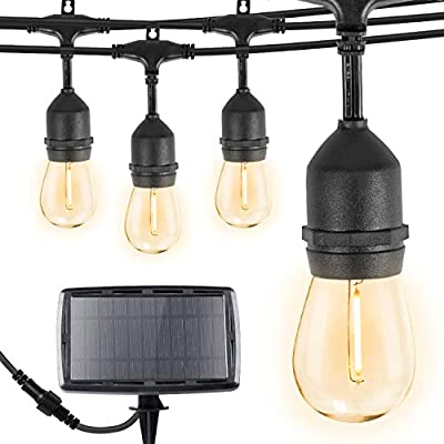 Brightown 34Ft LED Solar String Lights with 15 Shatterproof Bulbs, Solar & USB Charging with 4 Lighting Modes, Weatherproof Ambient Lighting for Patio Deck Cafe, Black Cord, 2700K