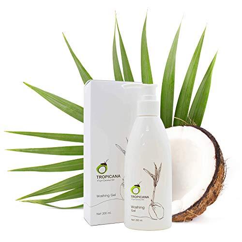 Tropicana Oil Gel nettoyant pour le visage avec huile de coco vierge pressée à froid 200 ml et extrait d'aloe vera, Phellinus Linteus | Soin hydratant | Nettoyage du visage | Cosmétique naturel