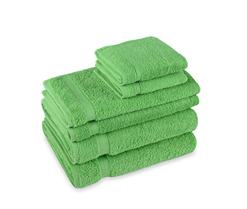 Premium Turkish Bathroom 6-Piece Towel Set by Payam Collection. 2 Bath Towels, 2 Hand Towels, 2 Washcloths. (Lime).