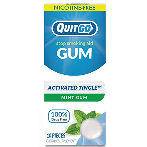 Quitgo Nicotine Free Gum Drug-Free Chew-Able Texture Quit Smoking Products Refreshing Natural Mint Flavor Reduce Cravings and Overcome The Urge to Smoke with Activated Tingle (Mint Burst, 10 Pack)