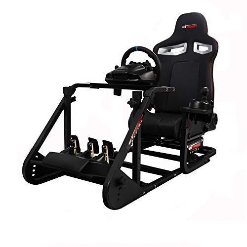 GT Omega Art Racing Simulator Cockpit RS9 Gaming Console Seat for Logitech G923, G920, G29, G27, G25 Steering Wheel Pedals & Shifter Mount V2 PS4 Xbox One 360 TMX, with Stand & Reclinable Chair Rails