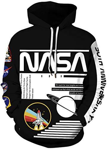 EUDOLAH Sudadera Hombre con Capucha Hoodie Chico Casual 3D impresión Dibujos Animados Logo de NASA (3XL,A Negro)