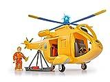 Simba 109251002 - Feuerwehrmann Sam Hubschrauber Wallaby II, mit Tom Thomas Figur, mit Licht und Originalsound, mit drehbarem Rotor und Seilwinde, 6 Sitzplätze, 34cm, für Kinder ab 3 Jahren