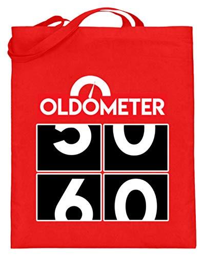 Oldometer - Velocímetro 50 60 para cumpleaños, bolsa de yute (con asas largas), color, talla 38cm-42cm