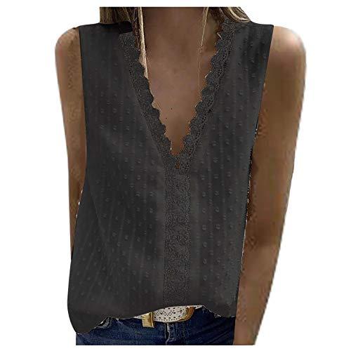 FMYONF Camisa de encaje para mujer, cuello en V, elegante, vintage, gasa, monocolor, manga corta, túnica C-negro. XL