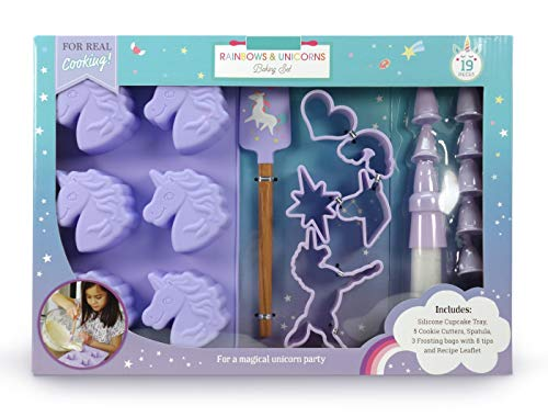 Handstand Kids 19-Piece Unicorn Baking Set with Recipes for Kids