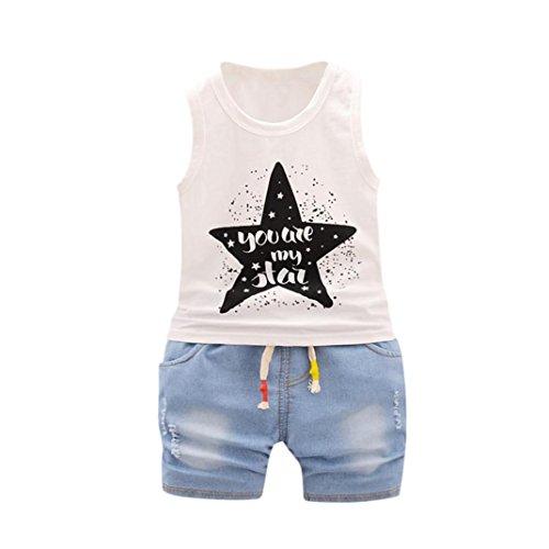 Babykleidung Neugeborenes Brief Tops Weste + Shorts Outfits Kleidung Set Mädchen Shorts Tops Hose Outfits Sommer Kinderbekleidung Boy Set (12M-4T) LMMVP (Weiß, 70CM (6M))