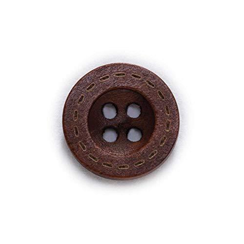 LaiYueShangMao Exquisito 50pcs 4 Agujero botón de Madera para Coser Scrapbooking Ropa artesanía Regalo Chaqueta Blazer suéteres Accesorios para el Trabajo a Mano 12.5-18mm para Ropa y decoración