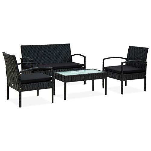 Festnight Set de Muebles de jardín 4 pzas y Cojines ratán sintético Negro para Jardín Balcón Patio Piscina Terraza