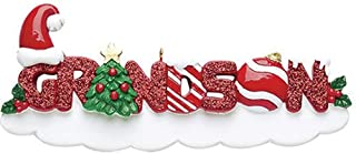 Personalized Grandson Christmas Tree Ornament 2019 - Glitter Red Word Holly Santa Hat Bauble Best World's Greatest Boy Love Member Tradition Special Forever Candy Cane - Free Customization