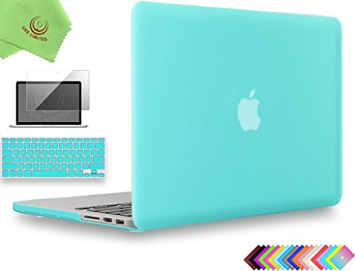 UESWILL 3in1 Matte Hard Case for MacBook Pro (Retina, 13 inch, Late 2012/2013/2014/Early 2015), Model A1425 / A1502, NO CD-ROM + Keyboard Cover and Screen Protector, Turquoise