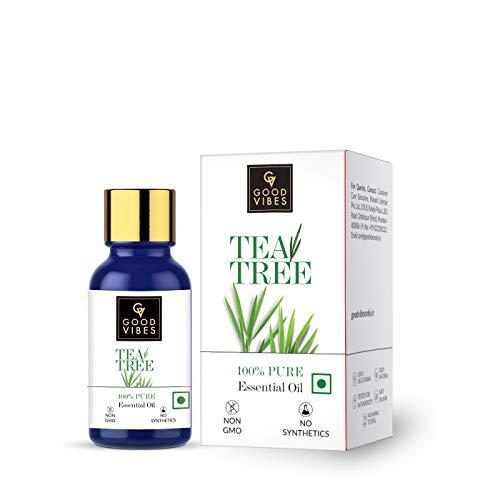 Good Vibes 100% Pure Tea Tree Essential Oil - 10 ml - Cleanses & Purifies Skin, Strengthens Hair & Helps Reduce Dandruff - Cruelty Free
