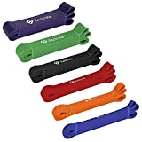 Pull Up Assistance Bands - Eackrola Resistance Bands Set of 6 Monster Heavy Duty Workout Exercise Crossfit Stretch Fitness Bands for Body, Instruction Guide and Carry Bag Included