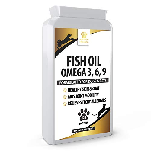 Fish Oil Omega Supplements for Dogs and Cats - 120 Softgels for Pets - Great for Itchy Dry Skin, Allergies & Dandruff • Furever Friendz