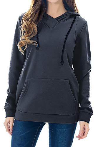 Smallshow Women's Fleece Maternity Nursing Sweatshirt Hoodie with Kangaroo Pocket Dim Grey Small