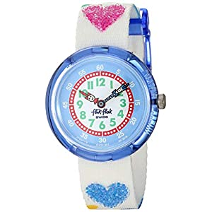 Flik Flak Kids' Color Explosion Quartz Polyester Strap, White, 14 Casual Watch (Model: ZFBNP116)