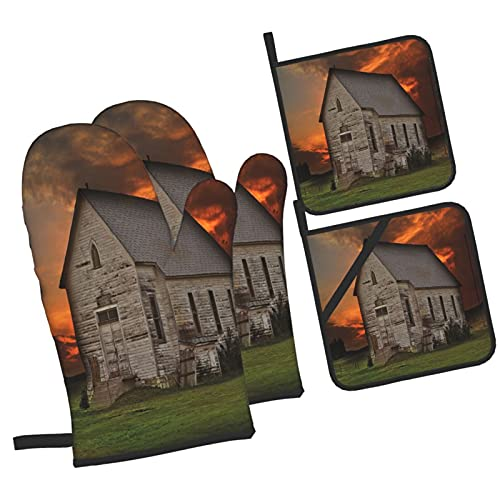 Rustic Prairie Building In Western South Dakota USA Wooden House Grassl,4Pcs Oven Mitts and Pot Holders Sets,High Heat Resistant Kitchen Oven Gloves with Non-Slip Hot Pads for Cooking,Baking,Grilling
