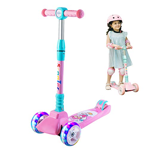 SULIVES 3 Wheel Scooter for Kids Ages 2-12 - Height Adjustable, Back Wheel Brake, Extra-Wide Deck with 4 Light-Up Wheels, Best Gifts for Boys and Girls Toddler Toys(Pink)