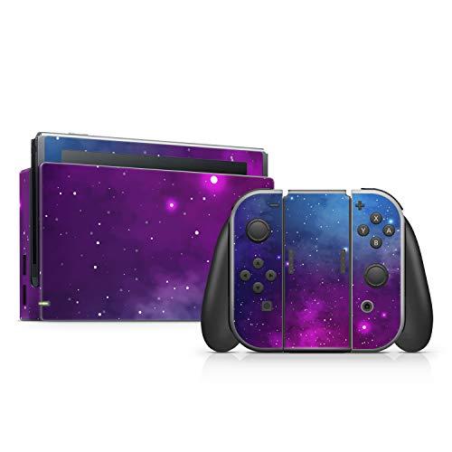 P081 | Aufkleber Sticker Decal Skin Folie Faceplates Klebefolie Vinyl kompatibel mit Nintendo Switch + Sticker für Joy-Con (Design 9 - Galaxy, Blue)