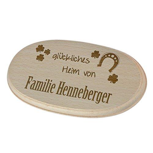 polar-effekt Holzschild Türschild Personalisiert mit Gravur - Namensschild Geschenk zum Einzug - Spruchbrett 17,7 x 9,9 cm - Motiv glückliches Heim