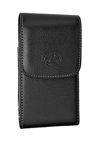Wonderfly Vertikale Holster kompatibel mit Motorola Moto Z2 Force, eine Ledertasche mit Gürtelschlaufen & Clip, passt auf das Handy mit einer Silikon oder dünnen Hülle