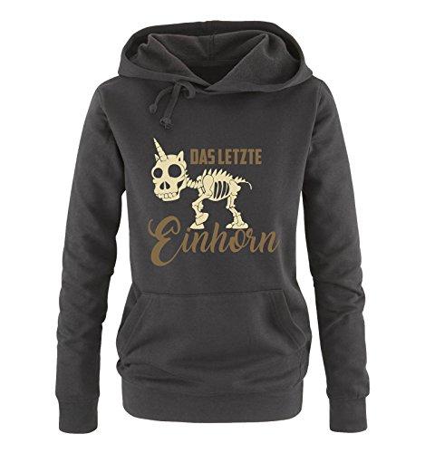 Comedy Shirts - Das letzte Einhorn - Skelette - Damen Hoodie - Schwarz/Hellbraun-Beige Gr. XL