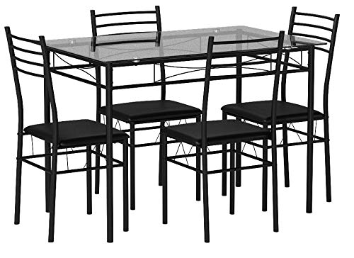 VECELO Dining Table with 4 Chairs [4 Placemats Included-] Black