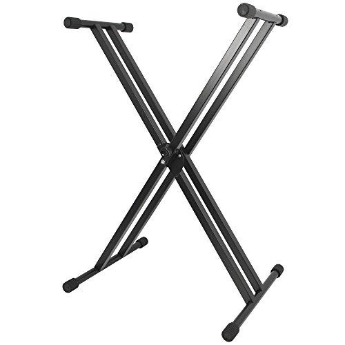 Axus Stand per Tastiera Portatile a Doppio Rinforzo Adatto Anche a Carichi Pesanti con Altezza Regolabile, Nero